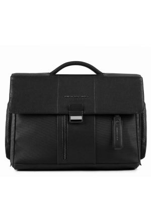 Piquadro Brief Cartella con patta, porta PC  e iPad - nero