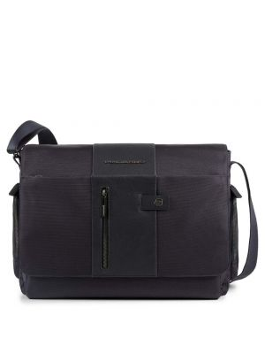 Piquadro Brief Messenger in pelle e tessuto porta PC e iPad - blu